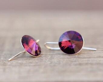 Amethyst Earrings, Purple Earrings, Swarovski Crystal Drop Earrings, February Birthstone Earrings, Bridesmaids Gift, 12mm Rivoli