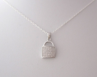CZ stones LOCK PADLOCK sterling silver pendant with necklace chain, minimalistic love necklace/jewelry