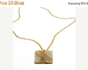 ON SALE Brass chain necklace, Cow horn pendant, Handmade Necklace, polished horn pendant , Statement Necklace, brass chain, Gift for her