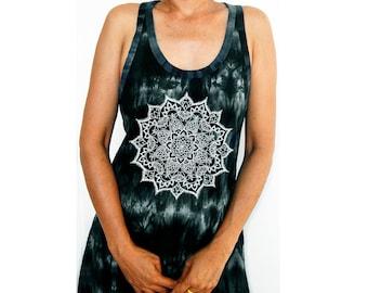 Tie Dye Tank Dress Racerback Dress Hippie Bohemian Racerback Dress Hand Tie Dye Graphic Hand Mandala Hand Screen Print 100% Cotton Free Size