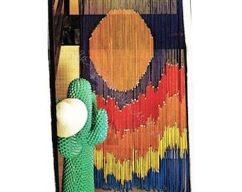 Instant Download PDF Crochet Pattern to make an African Sunset Beaded Door Curtain Room Divider Screen Modern Deco Wall Art