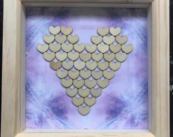 Heart mosaic, deep box frame art