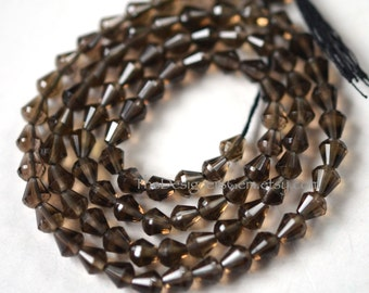 Small Gray Brown Smokey Quartz Micro Faceted Cone Tear Drop Beads 5 x 4mm - 1/2 Strand