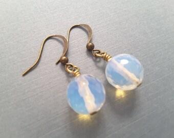 Faceted Opalite Drops . Earrings