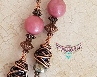 Romantic, Iridescent, Pink Rodhonite, Labradorite Earrings