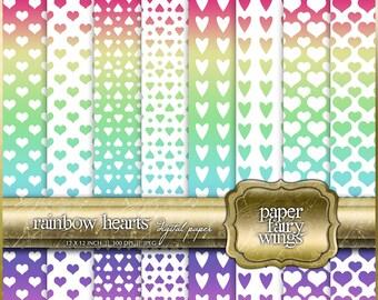 Rainbow Hearts Digital Paper