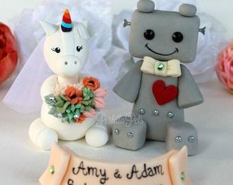 Unicorn bride and robot groom wedding cake topper, geek fantasy wedding, customizable