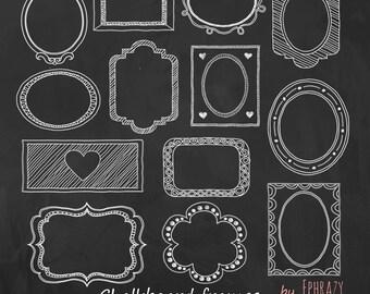 Chalkboard Frame Clipart. Chalkboard clipart. Chalk labels. Chalk frames. Digital chalk clipart. Digital frames