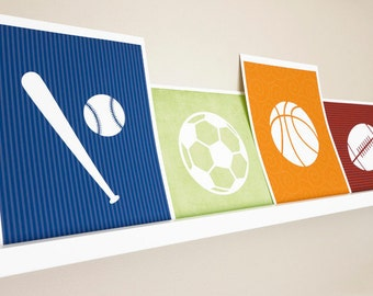 Sport Art Print / Boys Nursery Wall Art / Choose your Sport, Color and Background / 8x10 Sports Poster