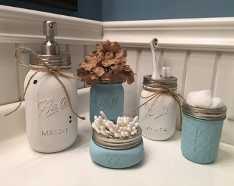 Mason Jars + Rustic Recor + Bathroom + Bathroom Set + Farmhouse + Shabby Chic + Primitive + Distressed + Wedding Gift + Birthday Gift