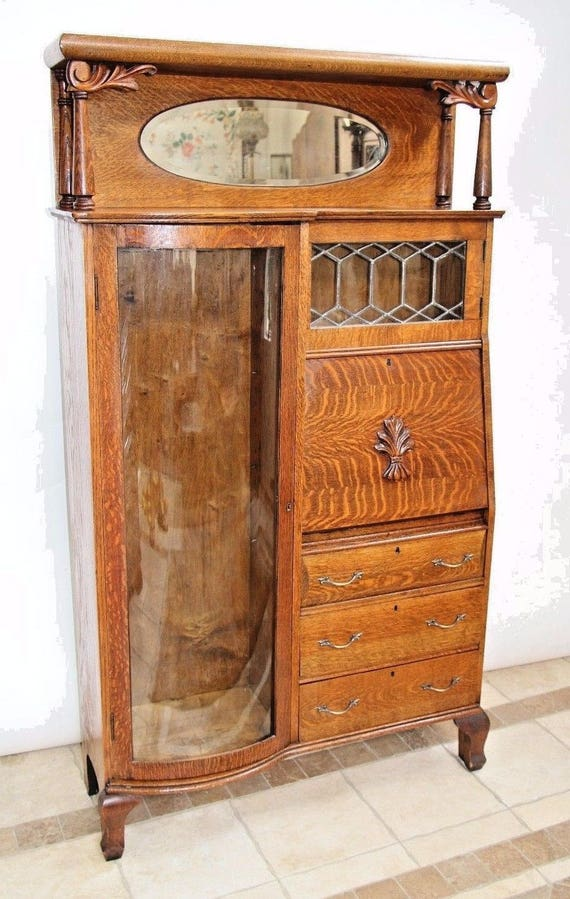 Like this item? - Antique Tiger Oak Side By Side Double Bookcase Secretary Curio