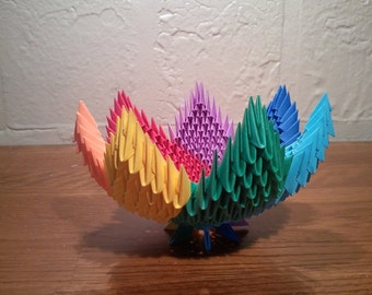 3d origami Rainbow spiral bowl