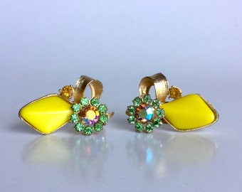 Bright Yellow Earrings, Green Rhinestone Flowers and Sparkling Iridescent Stones, Textured Gold Ribbons, Vintage 50s Clip Ons, Evening Party