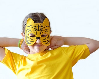 Kids Mask, Tiger Mask, Tiger Costume Accessory, Kids Halloween Mask, Dress up Mask for Kids Photo Props, Tiger Mask for Boys, Mask for Girls