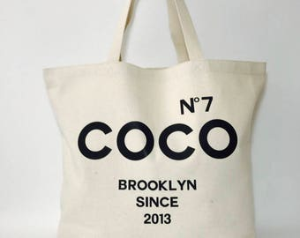 BTF No7 CoCo Brooklyn Cotton Canvas Tote bag Jumbo School Great gift
