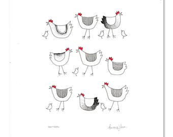 Spring Hens + Chicks Print