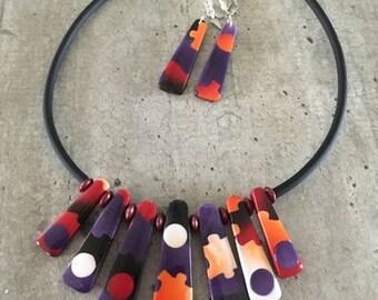 parure collier ras de cou petits pois et puzzle  - Nouvelle collection