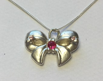 Silver PMC Bow set with Pink CZ Stones