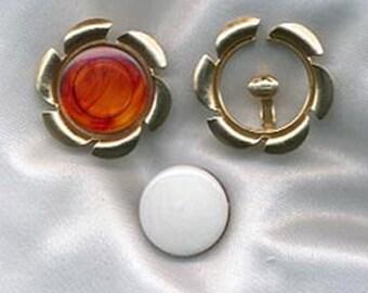 COLOR FRAME Earrings - Sarah Coventry - Vintage 1969 - Goldtone  SALE 4.00
