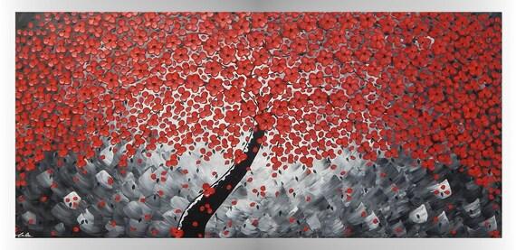 Abstraktes Acrylbild Baum mit roten Blumen Kunst Wand