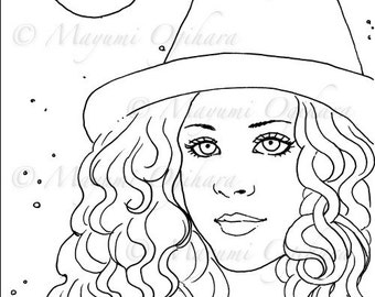 Moon Magic - digital stamp, colouring page, printable, instant download