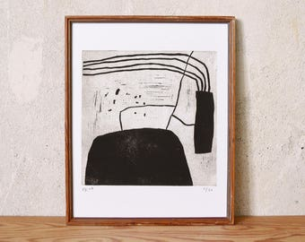 uncertain place 34 · original linocut on paper · handmade and signed · limited