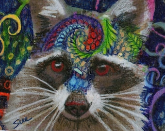 original art  aceo drawing raccoon zentangle design colorful spirit animal