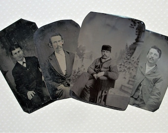 Lot of 4 Tintypes - Guys Looking for Loving Home