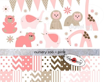 Nursery Zoo Pink: Clip Art and Paper Pack (300 dpi transparent png) Baby Shower Baby Girl Clipart Zoo Elephant Lion Bear Giraffe
