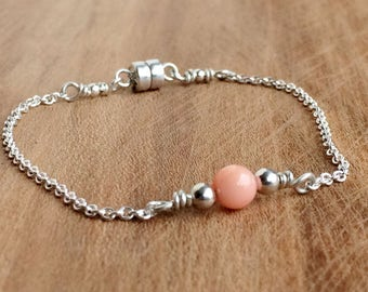 Dainty Pink Opal Bracelet, in Silver or Gold, Bead Bar Bracelet for Women, Magnetic Clasp