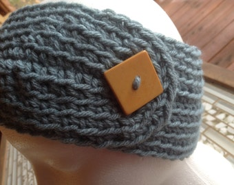 Azure Blue Headband Ear Warmer Hand Crocheted with a Tan Vintage Plastic Button Accent