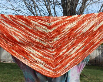 Hand knit shawl, orange cream shawl