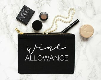 cute cosmetic bags - wine gift wine allowance pouch makeup bag bachelorette party gift bridal party gift gift for her wine lover gift idea