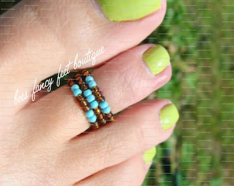 Stacking Toe Ring, Stacking Ring, Turquoise Beads, Topaz Beads, Tribal Ring, Tribal Pattern, Toe Ring, Ring, Stretch Bead Toe Ring