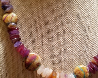 Painted Desert Amethyst and Agate Necklace