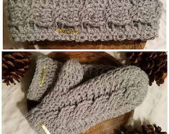 Cable Knit Headband and Mittens with Fleece Lining