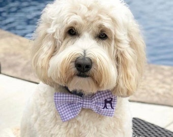 Personalized Purple Gingham Pet Bow Tie - Monogram Purple Dog Bow Tie with 1, 2 or 3 Initials - Best Custom Bow Ties by Three Spoiled Dogs