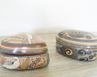 Vintage Southwest Trinket Jars Made of Red Clay with Southwestern Designs Trinket Box 1970s