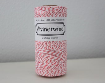 Bakers Twine - Coral Divine Twine - Full Spool - 240 yards of Coral & White