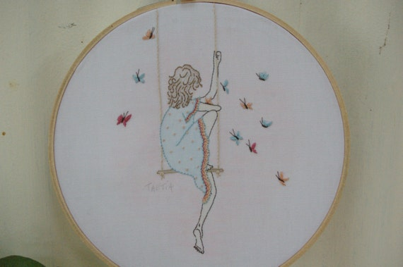 Hand embroidered girl instructions pattern embroidery hoop