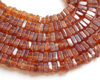 "1. Strand 16"" Hessonite Garnet Heishi Shape Beads 4 MM Approx Finest AAA Quality 100% Natural Wholesale Price New Arrival (pme)"