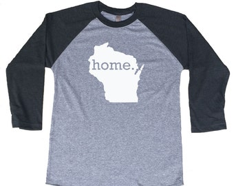 Homeland Tees Wisconsin Home Tri-Blend Raglan Baseball Shirt
