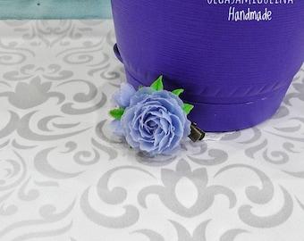 Purple peony barrette, brooche, handmade peony, flower, clay flower, clay peony, handmade flower, purple flower, polymer clay flower.