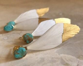 Turquoise and feather earrings, turquoise earrings, boho jewelry, boho wedding