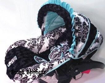 Custom Boutique London Blue/black Rosette Minky Infant Car Seat Cover 5 piece set