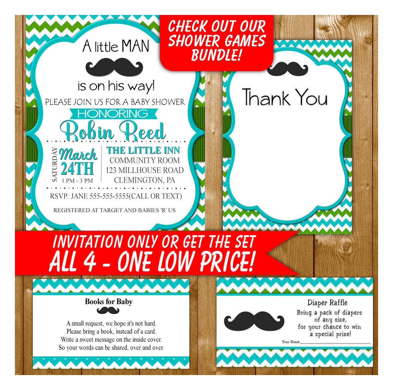 Mustache Baby Shower Invitation Blue Green Diaper Raffle