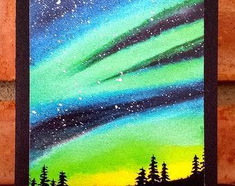 Aurora Borealis, Northern Lights - Blank Greeting Card, Watercolor Print