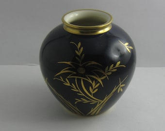 Rosenthal hand painting Munich Germany. Age old, enchanting, small porcelain vase. Cobalt and gold. Height about 8.5 cm. VINTAGE