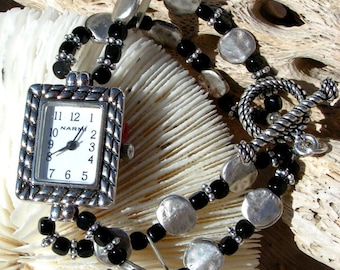 Silver Watch Black Bead Jewelry W067