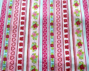 Laminated cotton fabric pink stars 50 x 70 cm